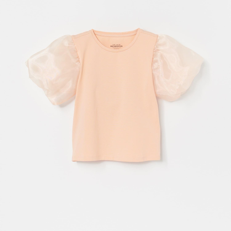 Reserved - Tričko sbalonovými rukávy - Krémová