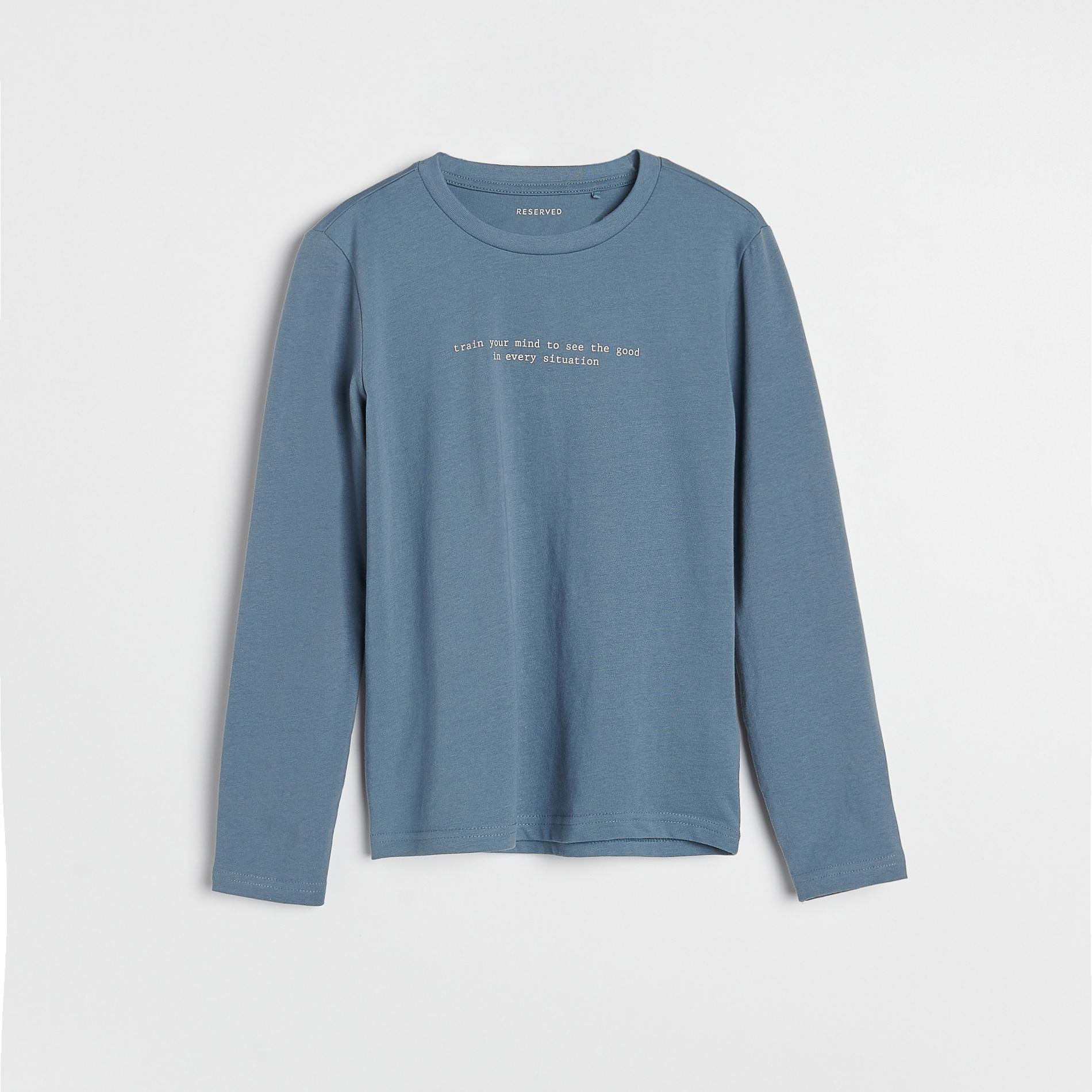 Reserved - Bavlněná košilka s potiskem - Modrá
