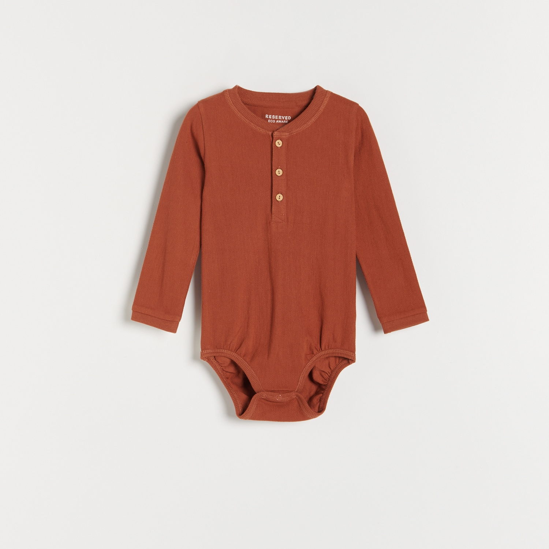 Reserved - Body svysokým podílem bavlny sknoflíky - Hnědá