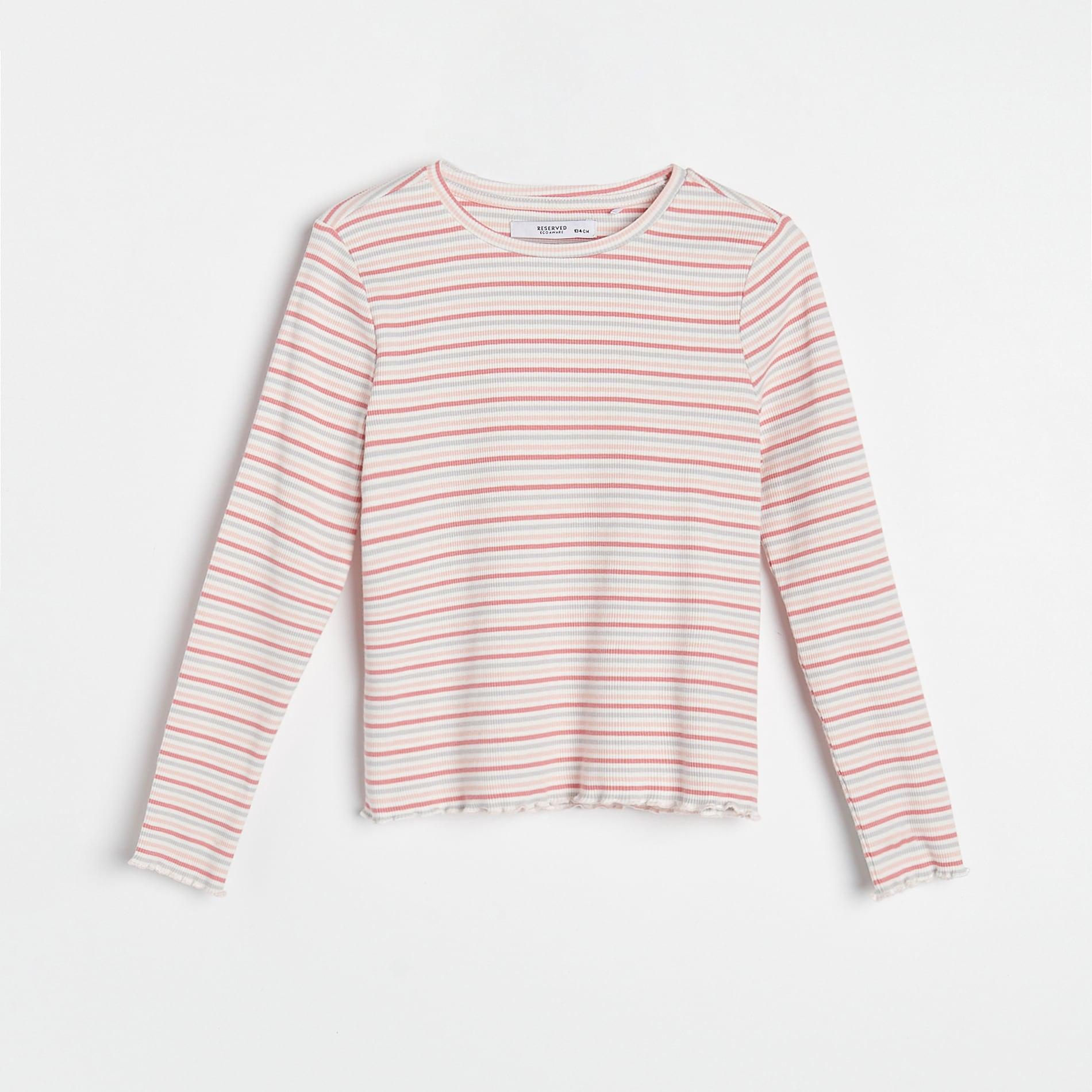 Reserved - Pruhované tričko sdlouhými rukávy - Růžová