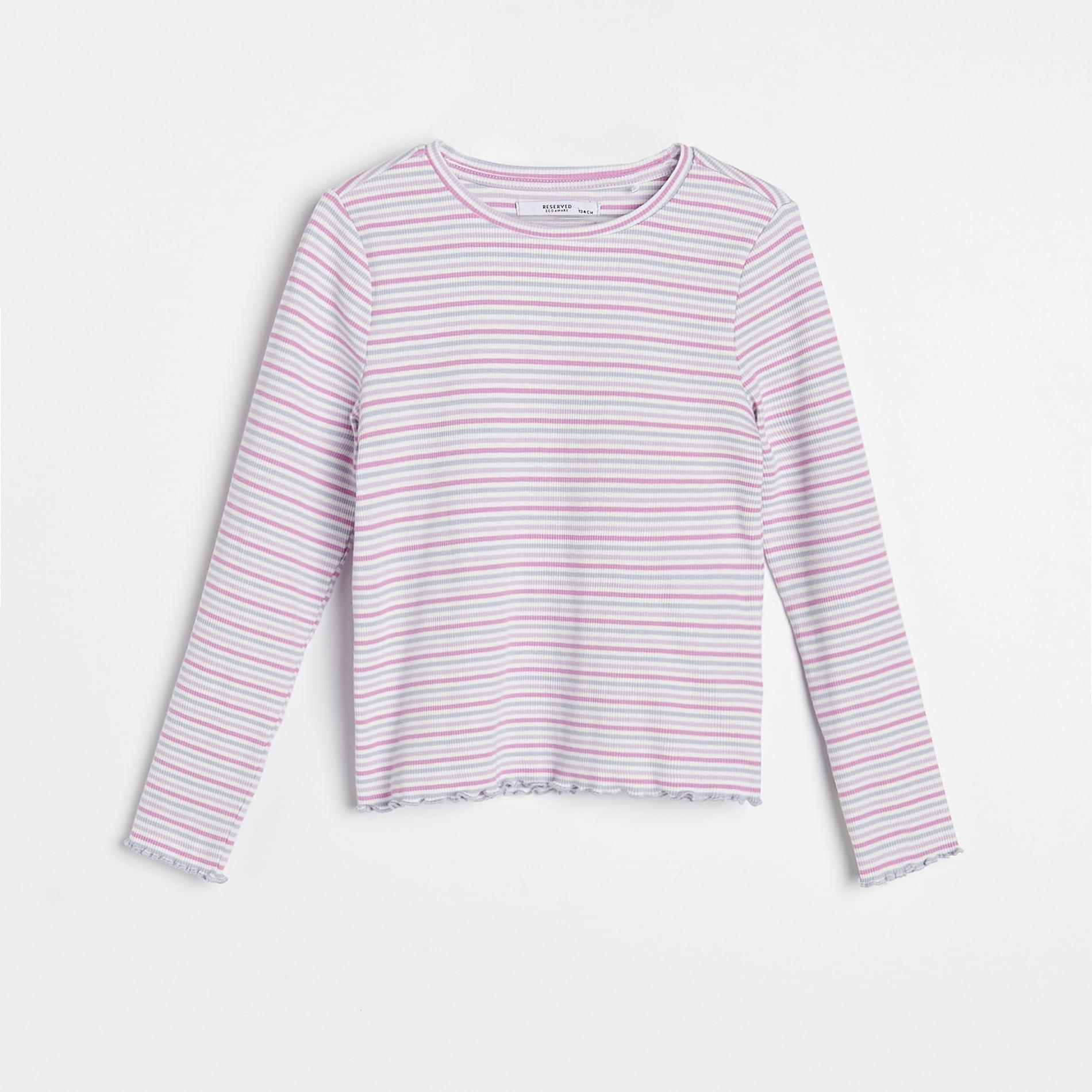 Reserved - Pruhované tričko sdlouhými rukávy - Fialová
