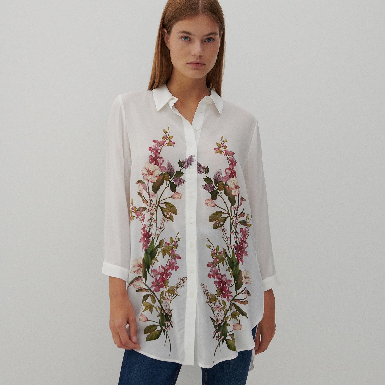 Reserved - Vzorovaná viskózová košile - Vícebarevná