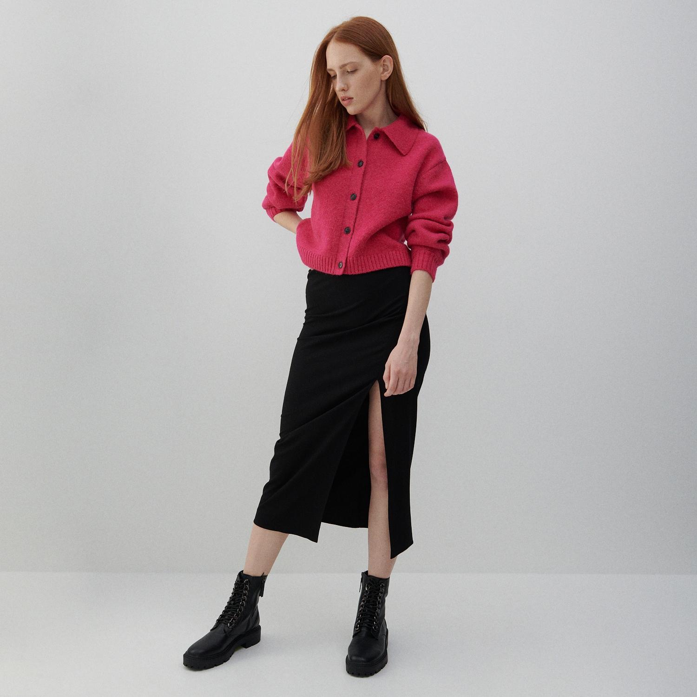 Reserved - Viskózová sukně - Černý
