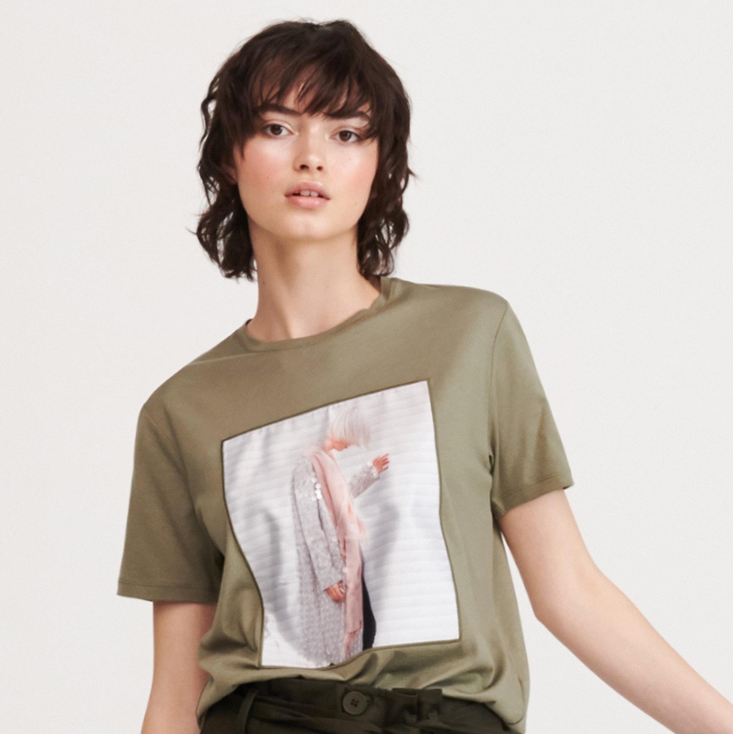 Reserved - Tričko zo zmesi bavlny a modalu - Khaki