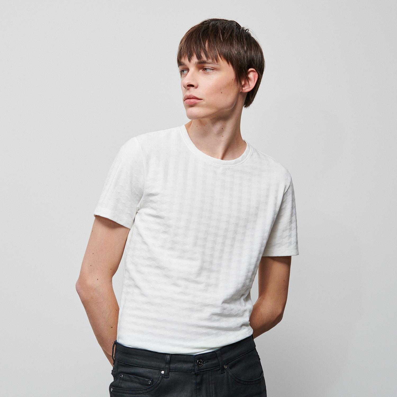 Reserved - Tričko zo štruktúrovaného úpletu - Krémová