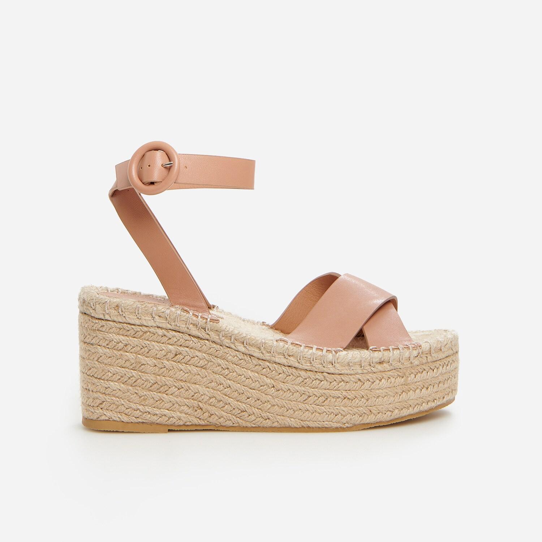 Reserved - Espadrilkové sandále na rovnej podrážke - Béžová