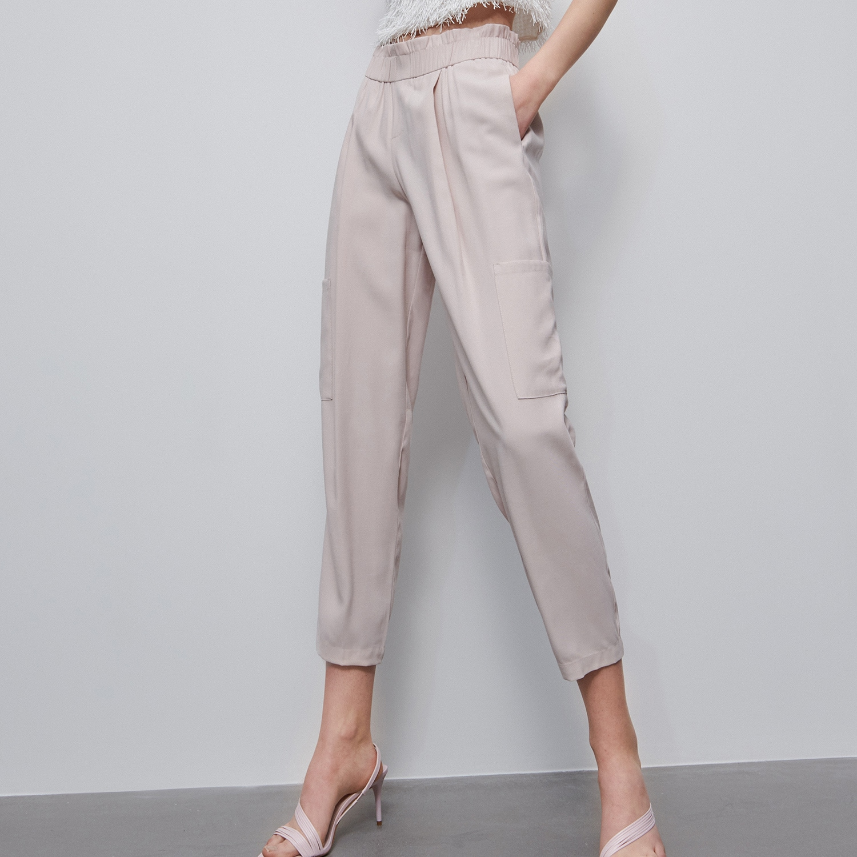 Reserved - Kalhoty s elastickým pasem - Krémová
