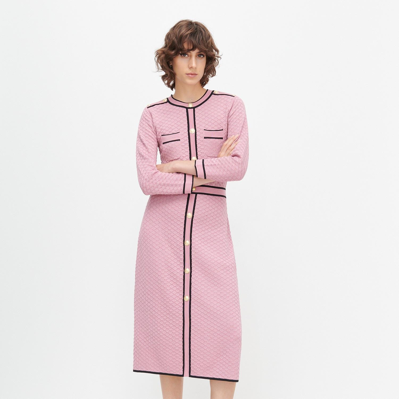 Reserved - Štruktúrované úpletové šaty - Ružová
