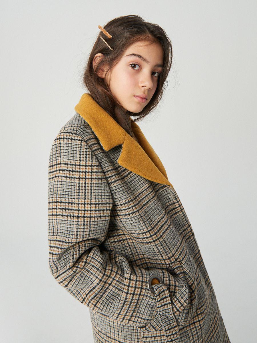 Płaszcz w kratę z wełną, RESERVED, XD067 82X