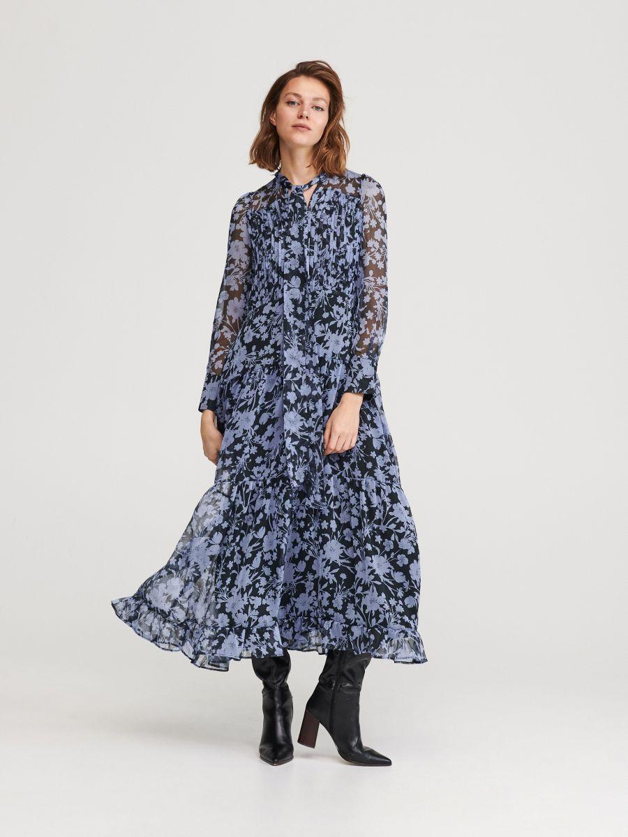 Długa sukienka w kwiaty, RESERVED, YP041 MLC