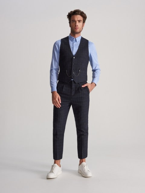 Wool blend suit trousers