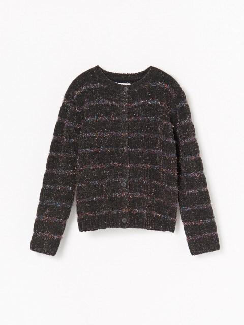 Rozpinany sweter z metalizowaną nitką