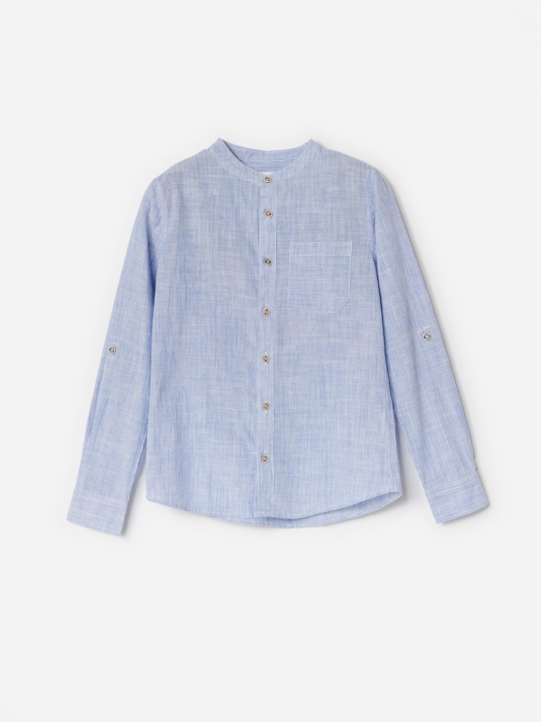 Prążkowana koszula ze stójką