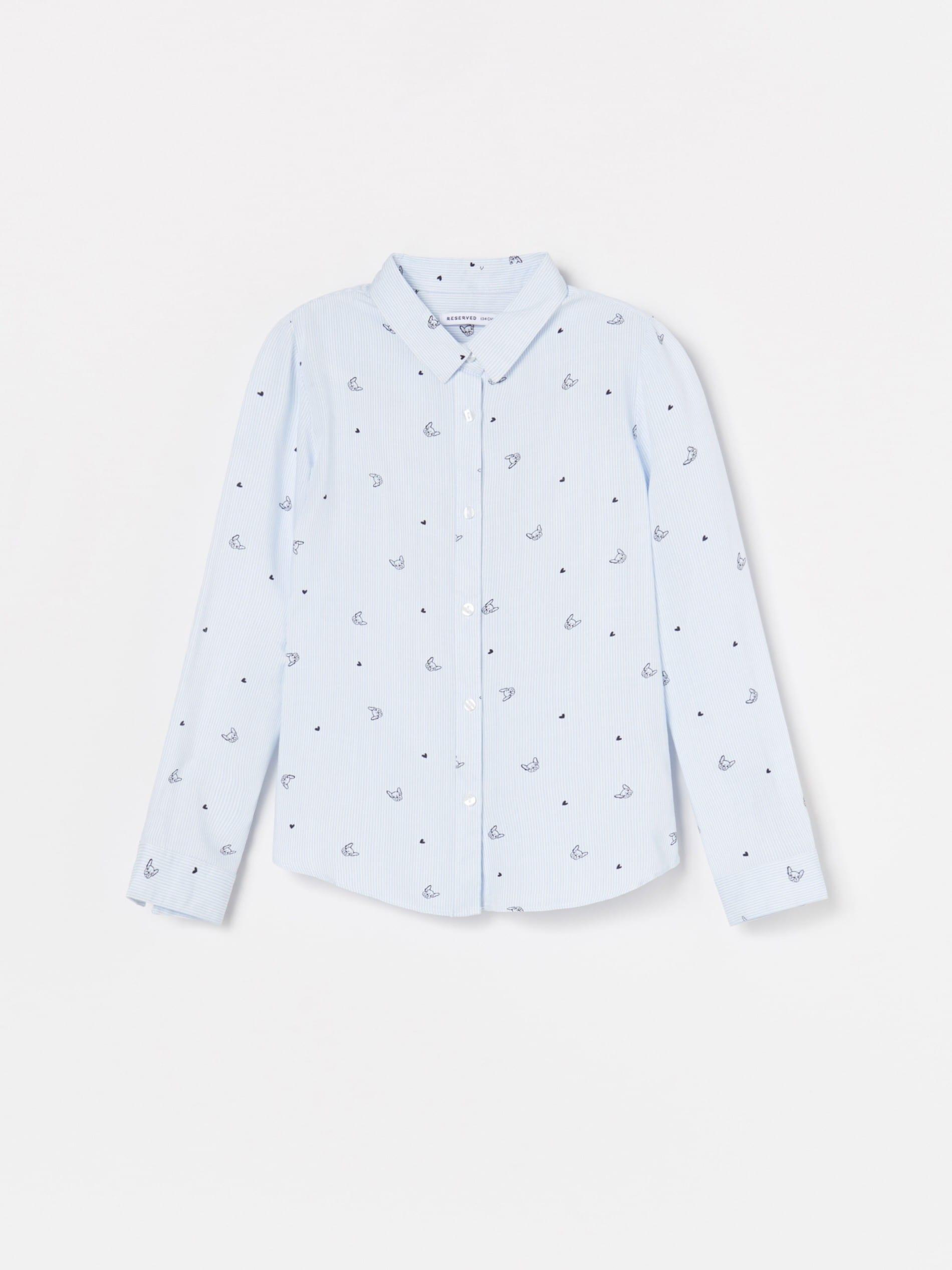 Wiskozowa koszula z nadrukiem w pieski
