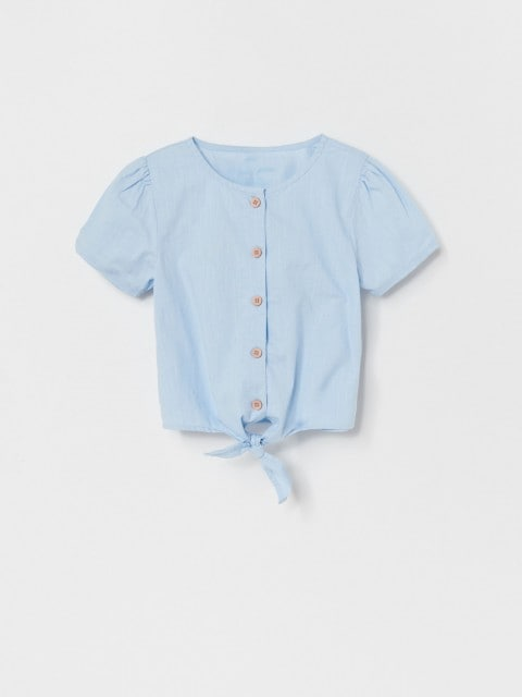 Bawełniana koszula z wiązaniem