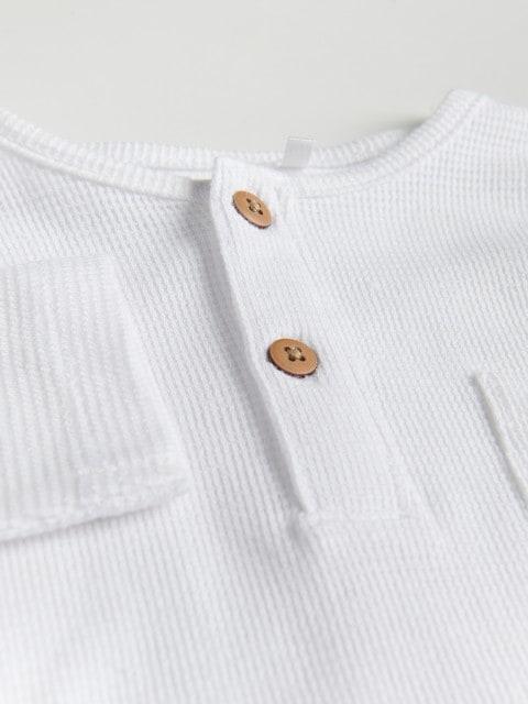 Bluză din bumbac, cu nasturi la piept