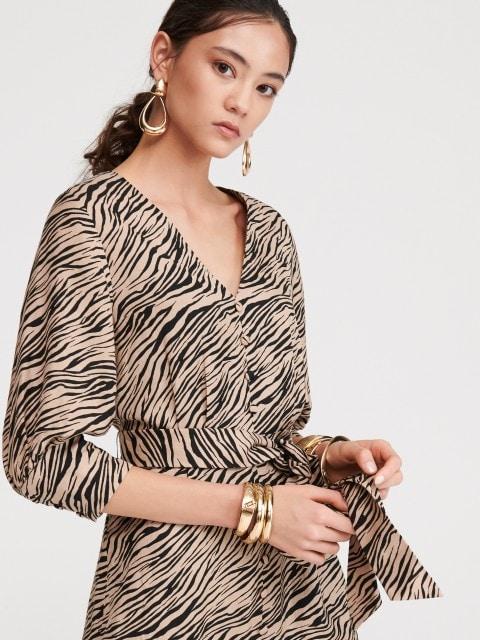 Rochie cu imprimeu dungi de tigru