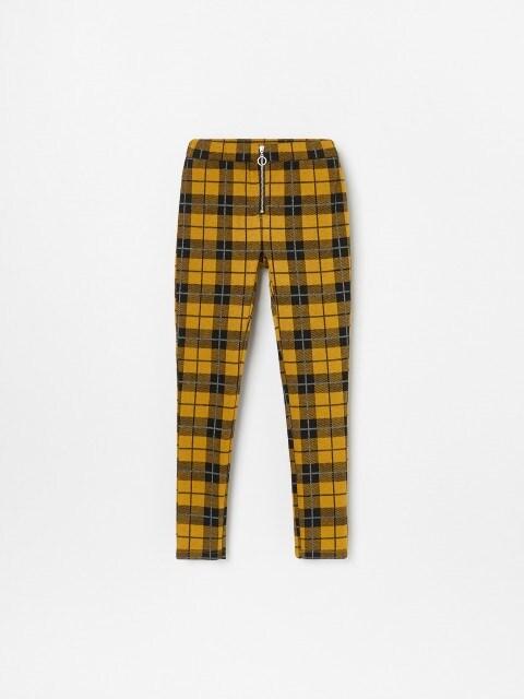 Pantaloni treggings mulați, cu închidere cu fermoar
