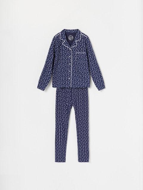 Pijama din bumbac cu buline