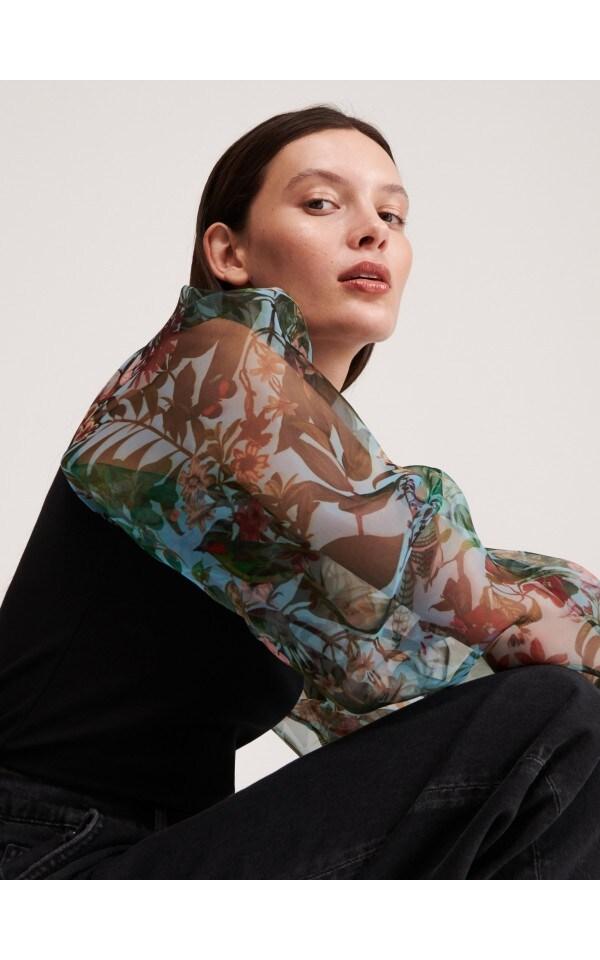 Блузка с объемными рукавами, RESERVED, XS798-99X