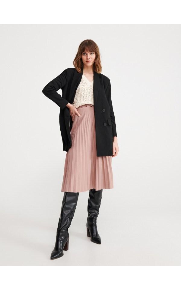 Плиссированная юбка с поясом, RESERVED, XV140-40X
