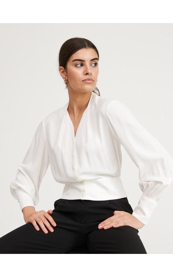 Блузка с объемными рукавами, RESERVED, YZ188-00X