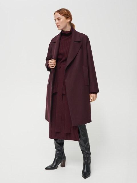 Двубортное пальто из материала с добавлением шерсти