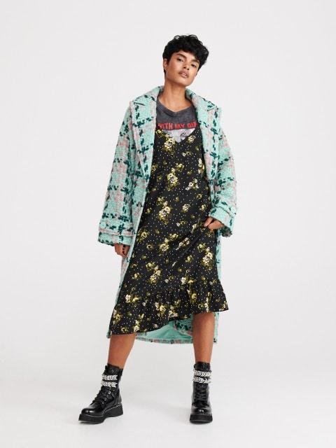 Платье-комбинация с цветочным узором