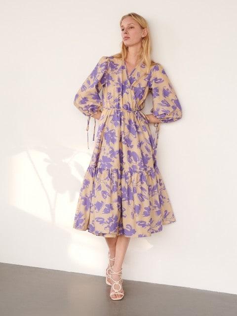 Платье с запахом с цветочным принтом
