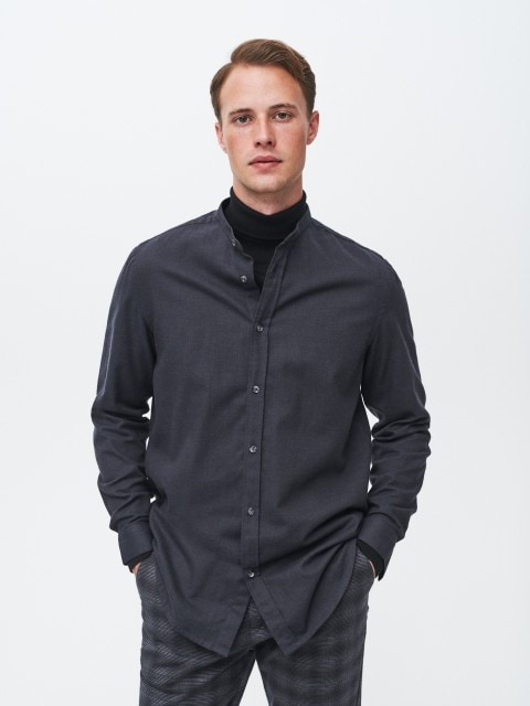 Flannel shirt with stand up collar