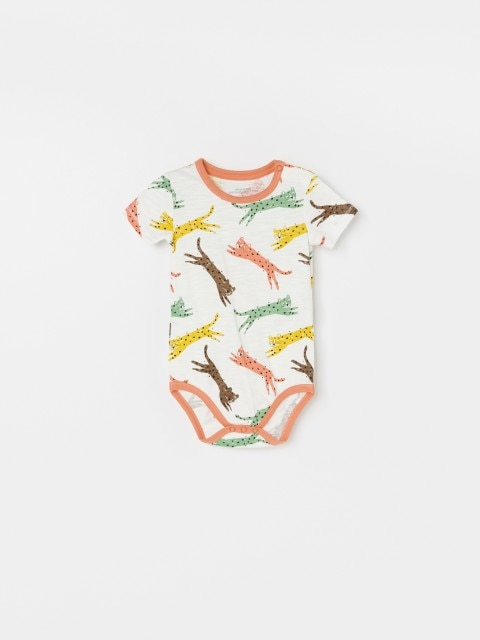 Patterned cotton bodysuit