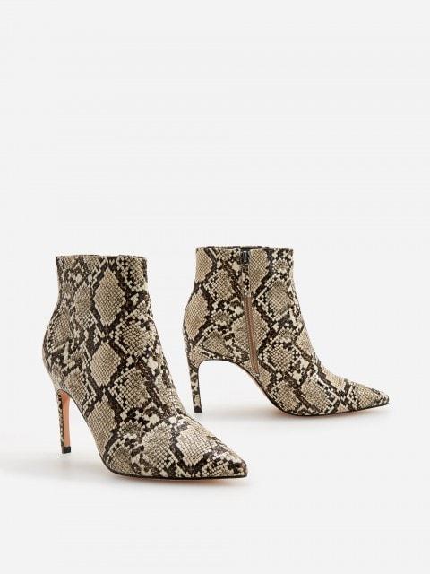 Členkové topánky s efektom hadej kože