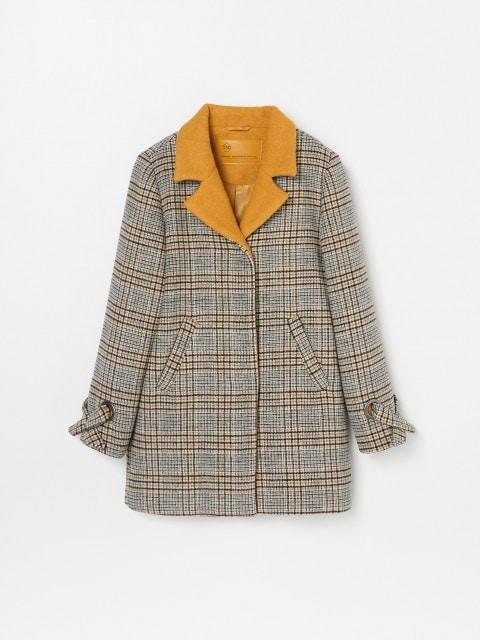 Vlnený kockovaný kabát