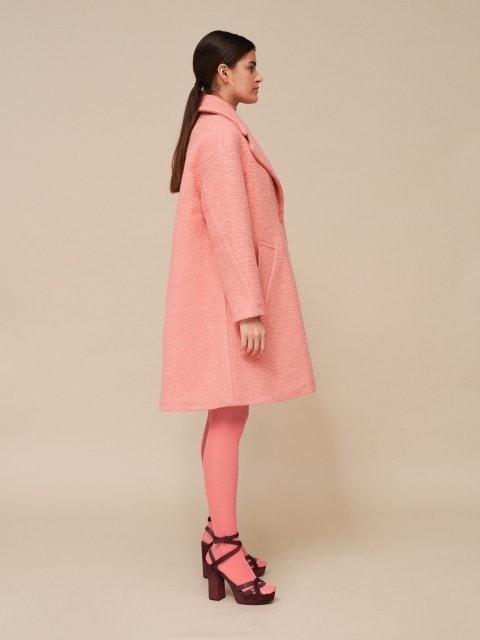 Ružový vlnený kabát