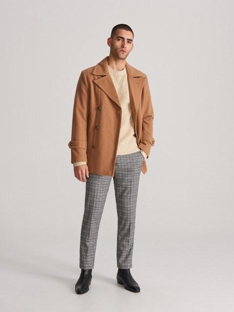 Двобортне пальто з тканини з додаванням вовни