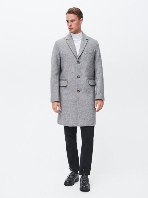 Пальто з візерунком «ялинка» з додаванням вовни