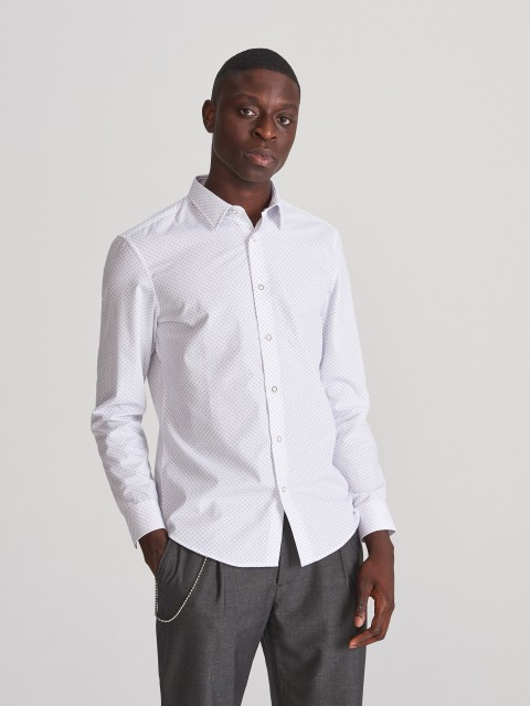 Сорочка slim fit із дрібним принтом