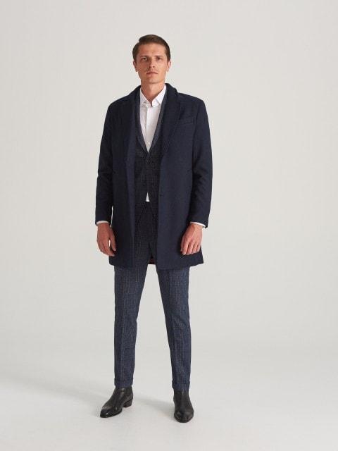Пальто з тканини з додаванням вовни